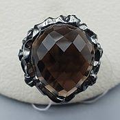 Украшения handmade. Livemaster - original item Silver ring with rauchtopaz 21h17,5.  mm and cubic zirconia. Handmade.
