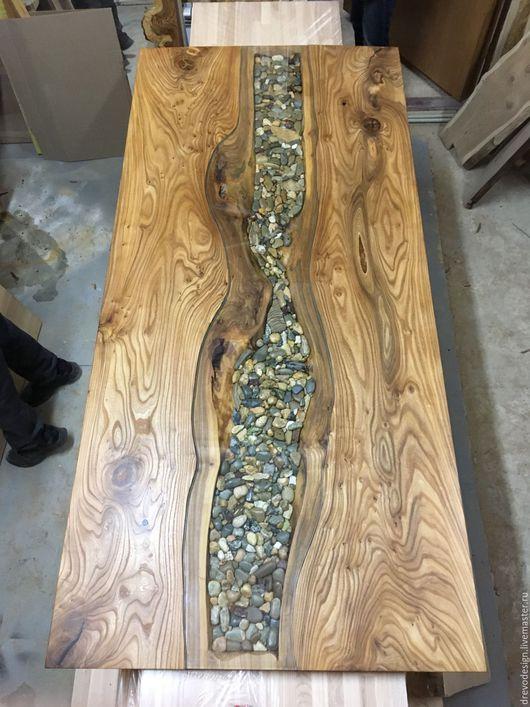 Мебель ручной работы. Ярмарка Мастеров - ручная работа. Купить Шикарная столешница с камнями. Handmade. Серый, Стол из массива