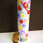 """Материалы для творчества ручной работы. Ярмарка Мастеров - ручная работа тубус """"Весенние цветы"""" высокая коробка под бутылку. Handmade."""