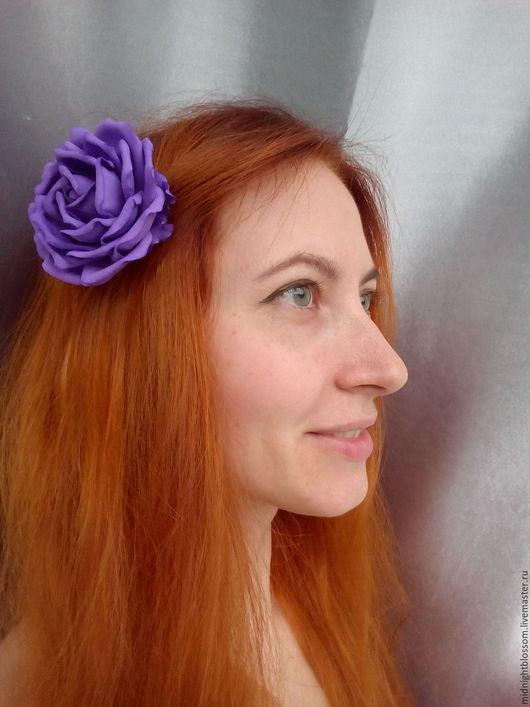 Заколки ручной работы. Ярмарка Мастеров - ручная работа. Купить Фиолетовая роза, заколка. Handmade. Желтый, фоамиран, подарок, фоамиран