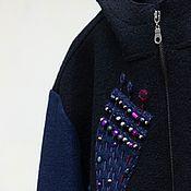 Одежда handmade. Livemaster - original item Sweatshirt with embroidery Magic garden, loden, wool. Handmade.