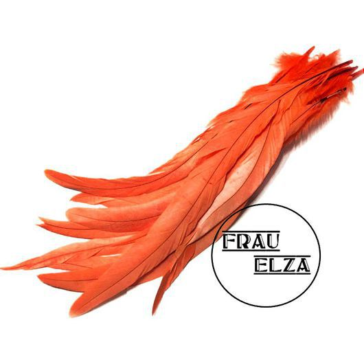 Другие виды рукоделия ручной работы. Ярмарка Мастеров - ручная работа. Купить Перья петуха 30-35 см. Оранж. Handmade.