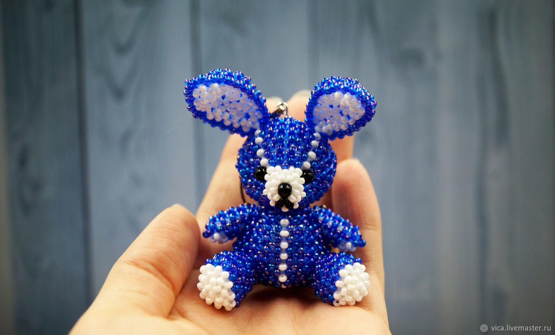 """Plush"" Bunny toy beaded amigurumi blue space – купить на Ярмарке Мастеров – J43KZCOM | Мини фигурки и статуэтки, Naberezhnye Chelny"
