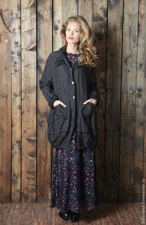 Outer Clothing handmade. Livemaster - handmade. Buy Jacket Clara 4280287.Jacket, dark gray, women's coat, coat buttoned