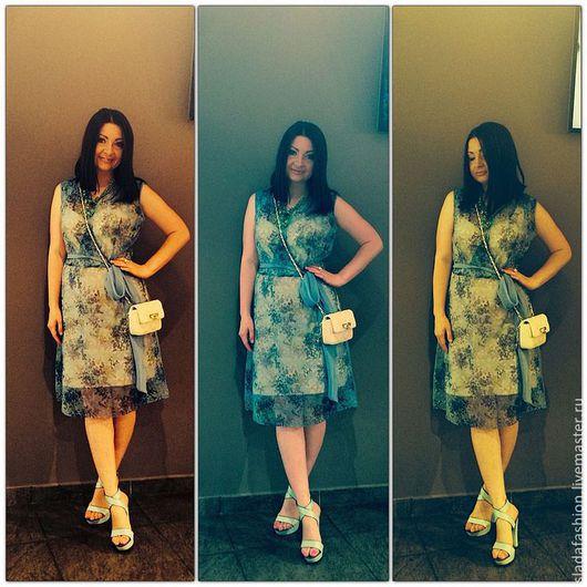 Платья ручной работы. Ярмарка Мастеров - ручная работа. Купить Цветочное шифоновое платье. Handmade. Голубой, повседневное платье