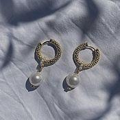 handmade. Livemaster - original item OCEAN MOON Gold Earrings. Handmade.
