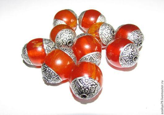 Для украшений ручной работы. Ярмарка Мастеров - ручная работа. Купить Тибетские серебрянные бусины. Handmade. Оранжевый, тибетское серебро