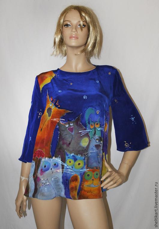 Блузки ручной работы. Ярмарка Мастеров - ручная работа. Купить Блуза Батик с котами. Handmade. Тёмно-синий, коты батик