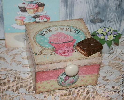 Кухня ручной работы. Ярмарка Мастеров - ручная работа. Купить Чайная коробка HOW SWEET. Handmade. Бледно-розовый, пирожное