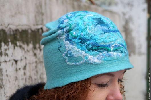 """Шапки ручной работы. Ярмарка Мастеров - ручная работа. Купить Шапка - шляпка """"Звездный ветер"""". Handmade. Мятный, легкая шляпка"""