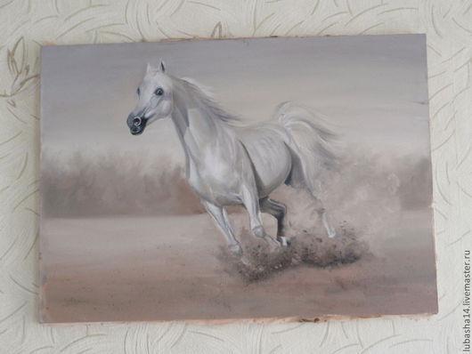 Животные ручной работы. Ярмарка Мастеров - ручная работа. Купить картина белоснежный. Handmade. Лошадь, белый, коричневый, холст на подрамнике