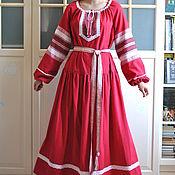 Русский стиль handmade. Livemaster - original item Dress Russian Slavic long linen Vesnyanka crimson. Handmade.