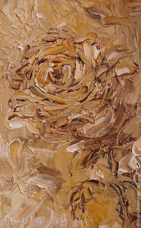 Абстракция ручной работы. Ярмарка Мастеров - ручная работа. Купить Картина. Розы. Сепия. Масло, холст на картоне, 18х24, мастихин.. Handmade.