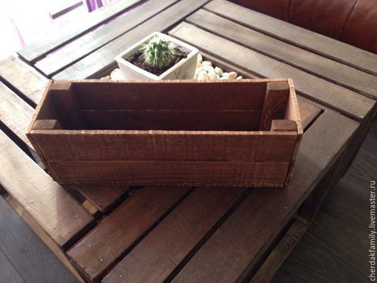 Корзины, коробы ручной работы. Ярмарка Мастеров - ручная работа. Купить Ящик деревянный для цветов. Handmade. Коричневый, длинный ящик
