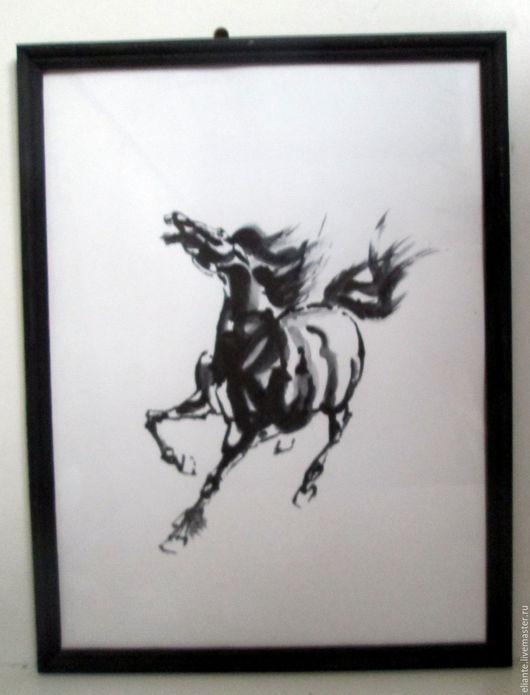 Животные ручной работы. Ярмарка Мастеров - ручная работа. Купить картина лошадь Свобода суми-е. Handmade. Чёрно-белый