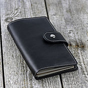 Канцелярские товары handmade. Livemaster - original item Black notebook made of genuine leather with replaceable notebooks. Handmade.