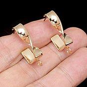 Материалы для творчества handmade. Livemaster - original item Earrings studs 24.5*6 mm gold plated th. Korea (4569). Handmade.