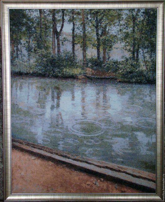 """Пейзаж ручной работы. Ярмарка Мастеров - ручная работа. Купить Вышитая картина """"Дождь над каналом"""". Handmade. Вышитая картина"""
