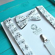 Аксессуары handmade. Livemaster - original item Tie with Suspenders white notes with notes / Kit Maestro. Handmade.