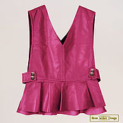 Одежда handmade. Livemaster - original item Top vest with peplum genuine leather or suede. Handmade.