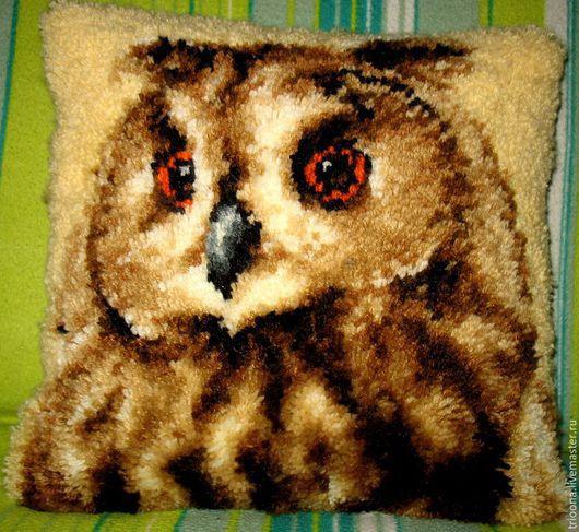 Текстиль, ковры ручной работы. Ярмарка Мастеров - ручная работа. Купить Филин.Подушка в ковровой технике. Handmade. Филин