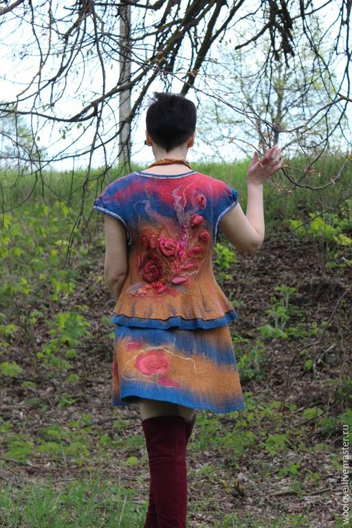 """Костюмы ручной работы. Ярмарка Мастеров - ручная работа. Купить жилет и юбка валяные """" Чародейка"""". Handmade. Разноцветный"""