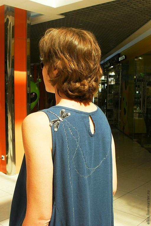 Sundress summer linen 'Silver threads for dragonflies', Sundresses, Moscow,  Фото №1
