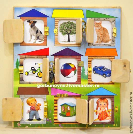 """Развивающие игрушки ручной работы. Ярмарка Мастеров - ручная работа. Купить Развивающая Доска с замочками Модуль Бизиборд """"Детский Дворик"""". Handmade."""
