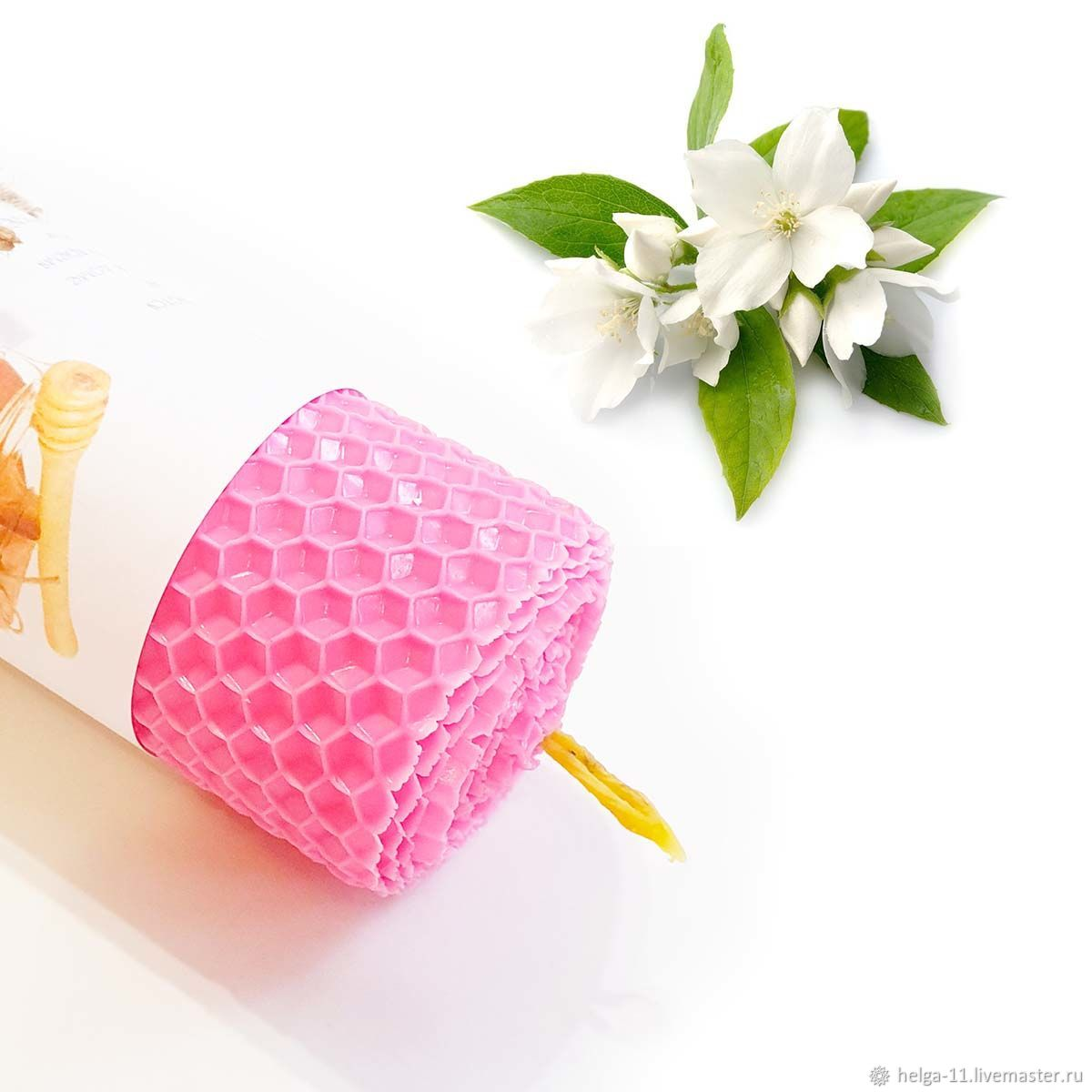 honey candle-pink with jasmine 13h4,7,  cm, Candles, St. Petersburg,  Фото №1