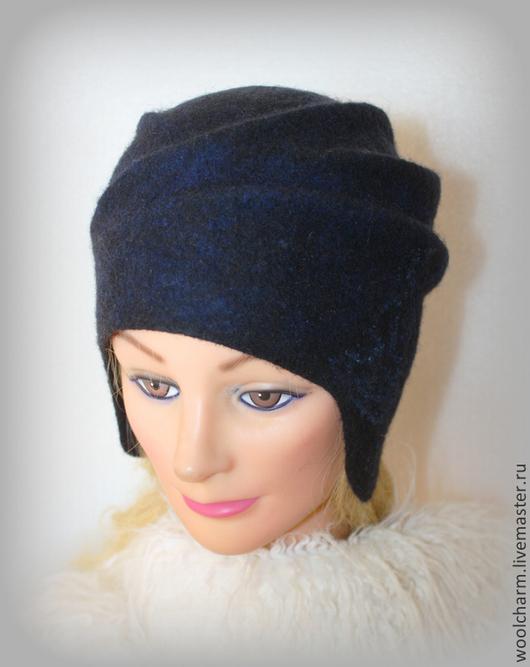 Шляпы ручной работы. Ярмарка Мастеров - ручная работа. Купить Шляпка с ушками валяная Синий бархат лунной ночи. Handmade.