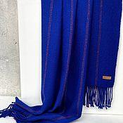 Палантины ручной работы. Ярмарка Мастеров - ручная работа Тканый шарф палантин  синий в полоску. Handmade.