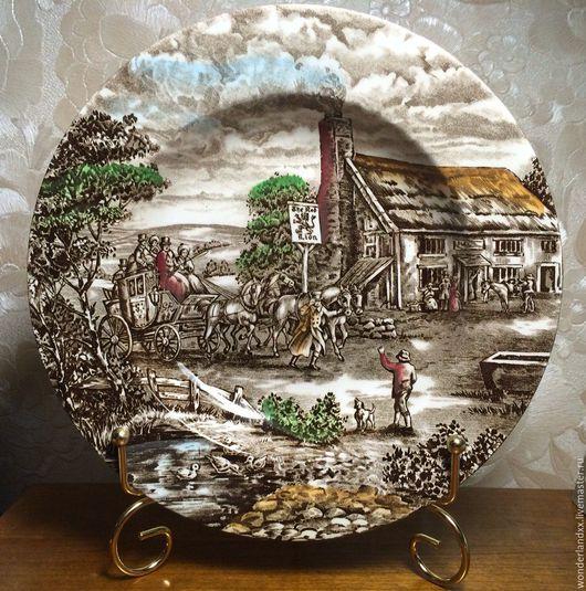 """Винтажная посуда. Ярмарка Мастеров - ручная работа. Купить красивая тарелка, ручная роспись, Англия,  """"Wood & sons. Handmade."""