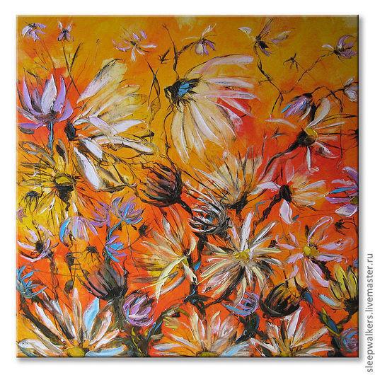 """Картины цветов ручной работы. Ярмарка Мастеров - ручная работа. Купить """"Хризантемы"""" 80х80 см большая оранжевая картина маслом мастихином. Handmade."""