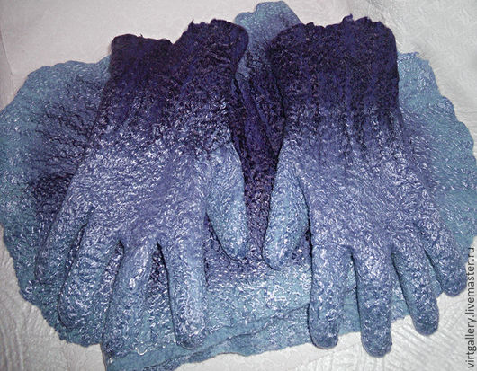 Комплекты аксессуаров ручной работы. Ярмарка Мастеров - ручная работа. Купить Валяные перчатки и шарф. Handmade. Перчатки валяные