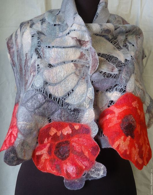 Шали, палантины ручной работы. Ярмарка Мастеров - ручная работа. Купить валяный шарф  Маки королевы. Handmade. Абстрактный