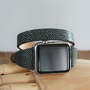 Украшения ручной работы. Ярмарка Мастеров - ручная работа Apple Watch ремешок в 2 оборота. Кожа ската. Handmade.