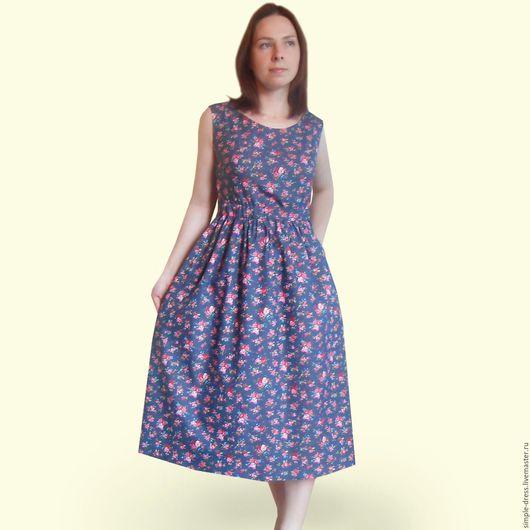 Платья ручной работы. Ярмарка Мастеров - ручная работа. Купить Джинсовое платье сарафан. Handmade. Летнее платье, платье летнее