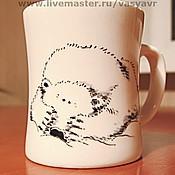 """Посуда ручной работы. Ярмарка Мастеров - ручная работа Кружка """"Серьезный белый ведмедь"""". Handmade."""