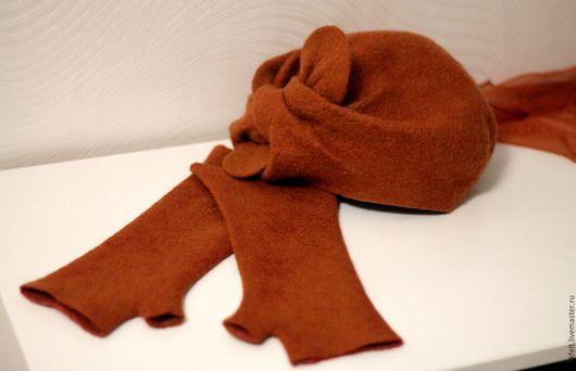 """Варежки, митенки, перчатки ручной работы. Ярмарка Мастеров - ручная работа. Купить Митенки """"Корица"""" двухсторонние. Handmade. Рыжий, валяный"""