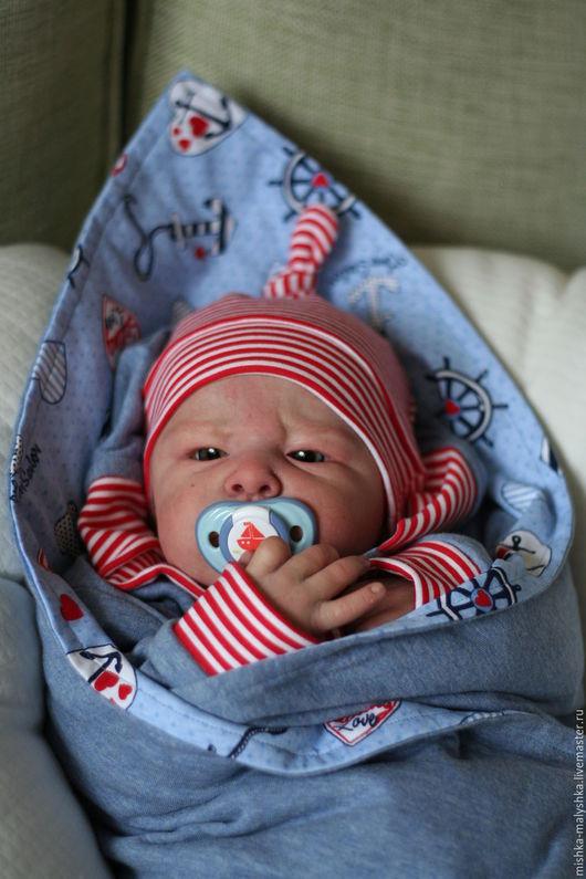 """Для новорожденных, ручной работы. Ярмарка Мастеров - ручная работа. Купить Комплект """"Sailing love"""".. Handmade. Голубой, для малыша"""
