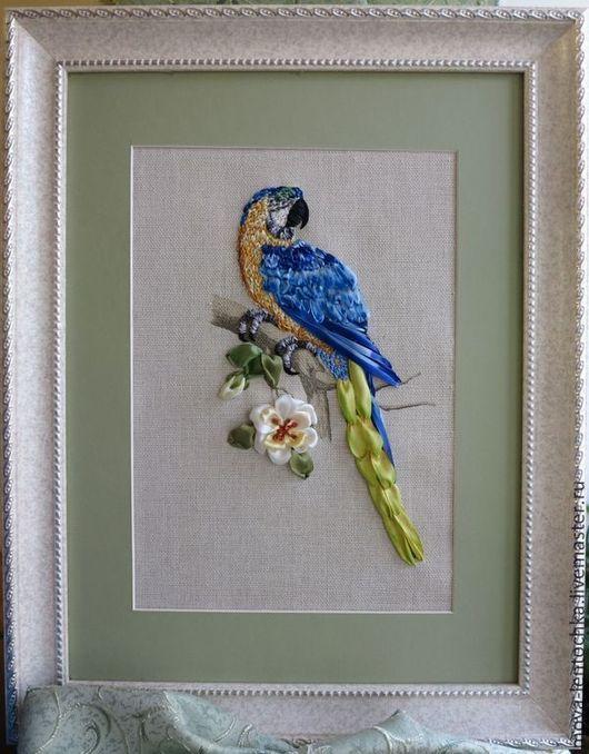 Животные ручной работы. Ярмарка Мастеров - ручная работа. Купить Картина вышитая лентами Попугай. Handmade. Вышивка лентами