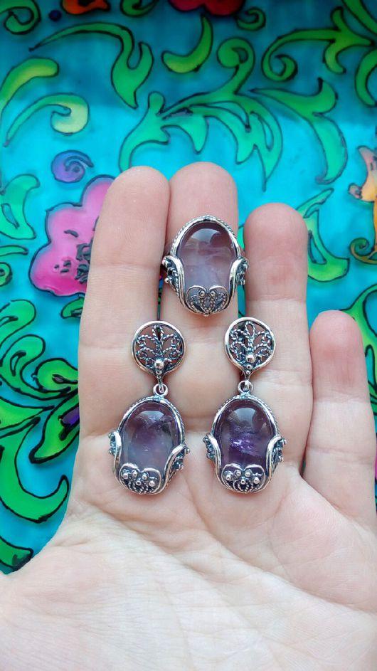 Комплекты украшений ручной работы. Ярмарка Мастеров - ручная работа. Купить 142 Комплект серебрение серьги и кольцо с камнями. Handmade.