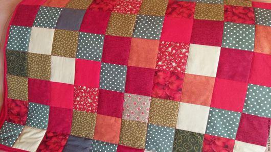 Текстиль, ковры ручной работы. Ярмарка Мастеров - ручная работа. Купить Лоскутное одеяло. Handmade. Ярко-красный, рождество, интерьер