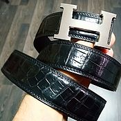Аксессуары handmade. Livemaster - original item The belt from the abdominal part of crocodile leather, in black color.. Handmade.