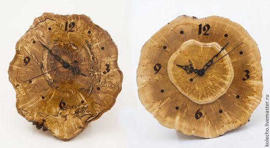 Часы для дома ручной работы. Ярмарка Мастеров - ручная работа. Купить Часы настенные на срезе карельской березы. Handmade. Бежевый