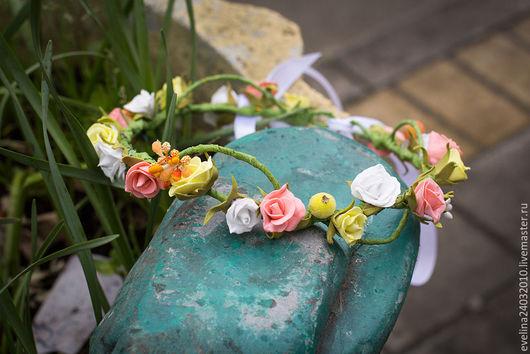 Диадемы, обручи ручной работы. Ярмарка Мастеров - ручная работа. Купить Венок из цветов из фоамирана. Handmade. Комбинированный, ободок с цветком