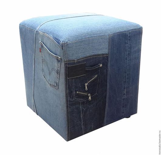 Мебель ручной работы. Ярмарка Мастеров - ручная работа. Купить Пуфик джинсовый. Handmade. Пуфик, голубой, красивый подарок