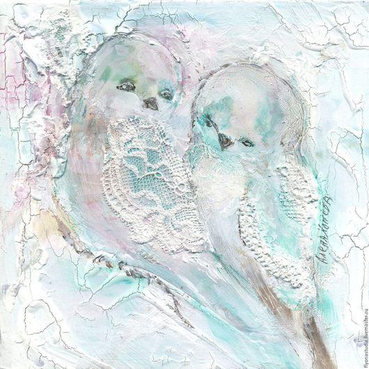 Две сказочные птицы - Радость и Счастье. Фантазийный сказочный сюжет по уникальной авторской идее. Кружевные птицы. Сказка в теплоте рук Алены Коневой
