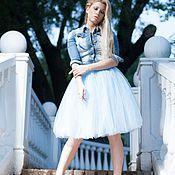 Одежда ручной работы. Ярмарка Мастеров - ручная работа Юбка пачка из фатина голубая. Handmade.