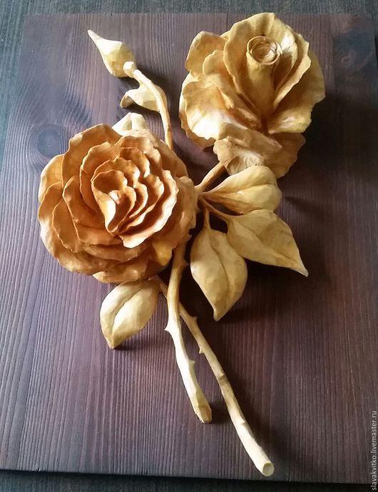 Картины цветов ручной работы. Ярмарка Мастеров - ручная работа. Купить Розы.. Handmade. Золотой, розы, подарок женщине, воск